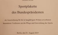 Urkunde-Sportplakette
